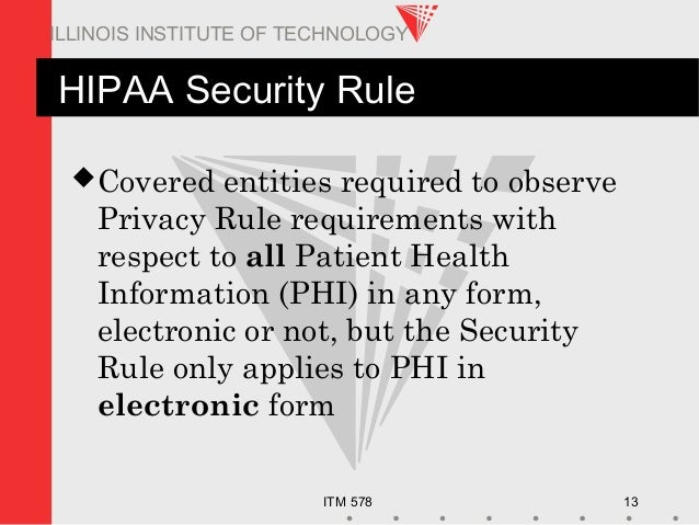 ITM 578 13 ILLINOIS INSTITUTE OF TECHNOLOGY HIPAA Security Rule Covered entities required to observe Privacy Rule require...