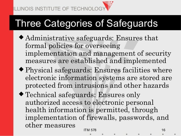 ITM 578 16 ILLINOIS INSTITUTE OF TECHNOLOGY Three Categories of Safeguards  Administrative safeguards: Ensures that forma...