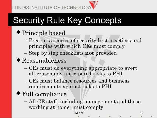 ITM 578 19 ILLINOIS INSTITUTE OF TECHNOLOGY Security Rule Key Concepts  Principle based – Presents a series of security b...