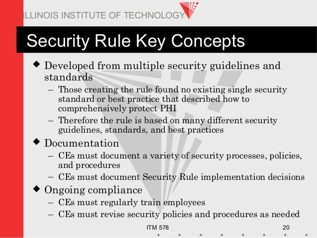ITM 578 20 ILLINOIS INSTITUTE OF TECHNOLOGY Security Rule Key Concepts  Developed from multiple security guidelines and s...