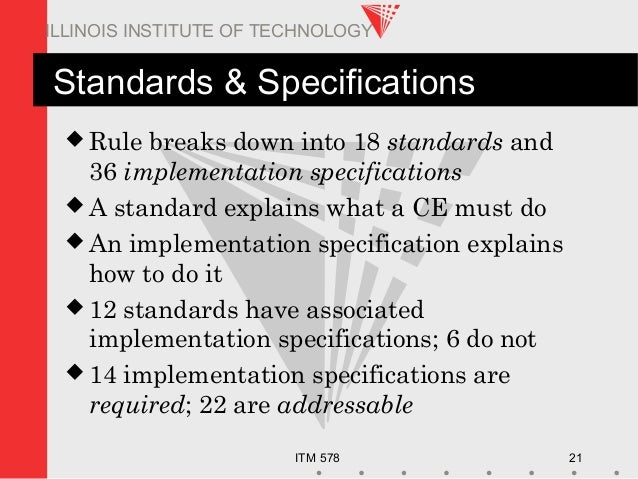 ITM 578 21 ILLINOIS INSTITUTE OF TECHNOLOGY Standards & Specifications  Rule breaks down into 18 standards and 36 impleme...