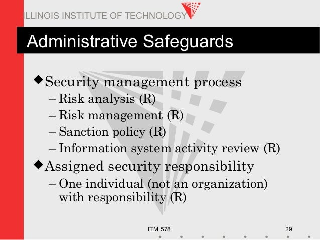 ITM 578 29 ILLINOIS INSTITUTE OF TECHNOLOGY Administrative Safeguards Security management process – Risk analysis (R) – R...