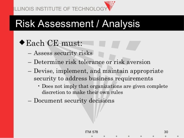 ITM 578 30 ILLINOIS INSTITUTE OF TECHNOLOGY Risk Assessment / Analysis Each CE must: – Assess security risks – Determine ...