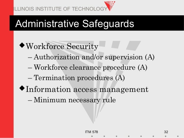 ITM 578 32 ILLINOIS INSTITUTE OF TECHNOLOGY Administrative Safeguards Workforce Security – Authorization and/or supervisi...