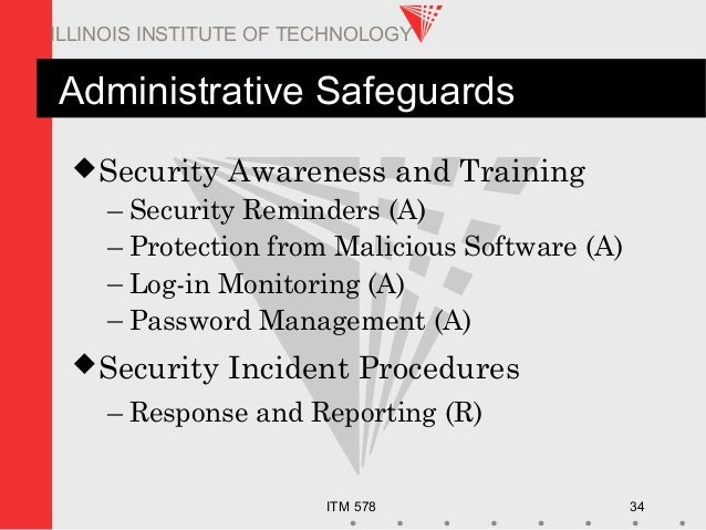 ITM 578 34 ILLINOIS INSTITUTE OF TECHNOLOGY Administrative Safeguards Security Awareness and Training – Security Reminder...
