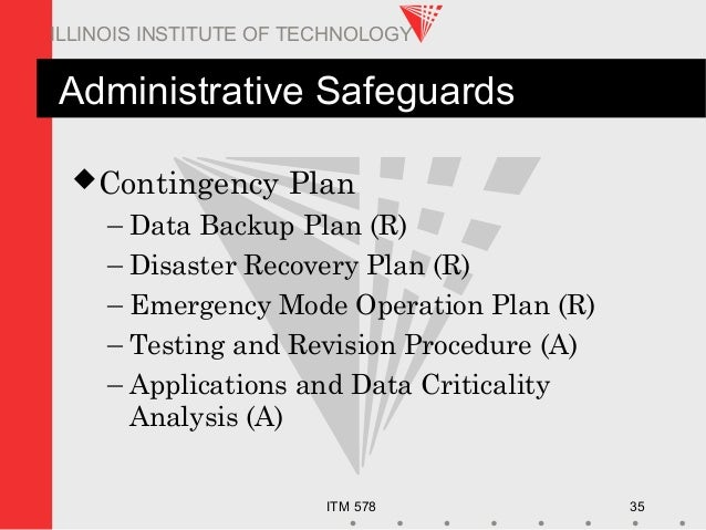 ITM 578 35 ILLINOIS INSTITUTE OF TECHNOLOGY Administrative Safeguards Contingency Plan – Data Backup Plan (R) – Disaster ...