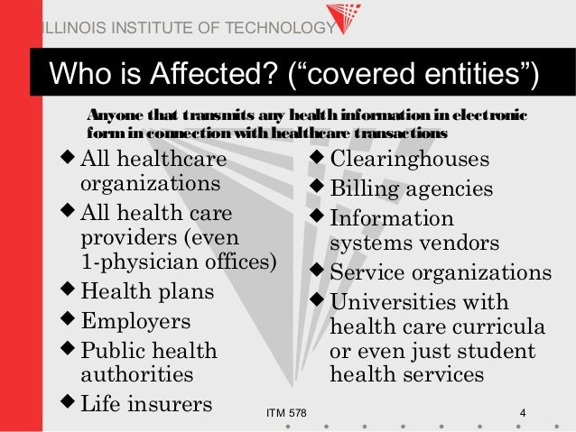 """ITM 578 4 ILLINOIS INSTITUTE OF TECHNOLOGY Who is Affected? (""""covered entities"""")  All healthcare organizations  All heal..."""