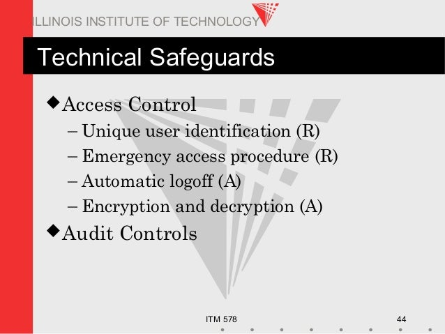 ITM 578 44 ILLINOIS INSTITUTE OF TECHNOLOGY Technical Safeguards Access Control – Unique user identification (R) – Emerge...