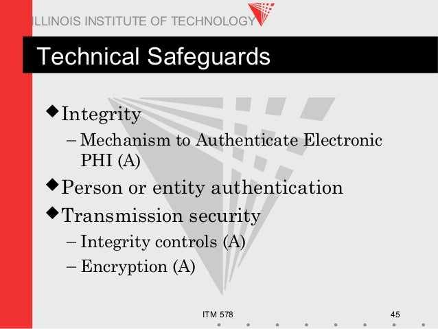 ITM 578 45 ILLINOIS INSTITUTE OF TECHNOLOGY Technical Safeguards Integrity – Mechanism to Authenticate Electronic PHI (A)...