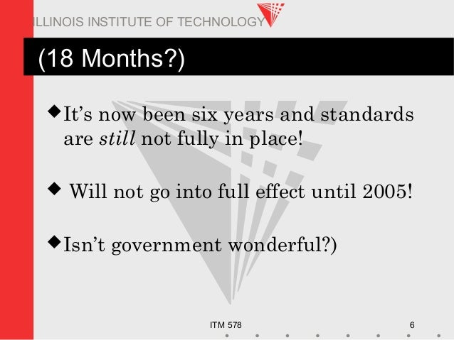 ITM 578 6 ILLINOIS INSTITUTE OF TECHNOLOGY (18 Months?) It's now been six years and standards are still not fully in plac...