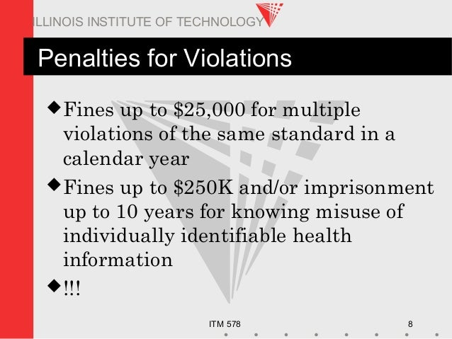 ITM 578 8 ILLINOIS INSTITUTE OF TECHNOLOGY Penalties for Violations Fines up to $25,000 for multiple violations of the sa...