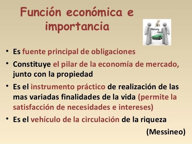 Función económica e importancia • Es fuente principal de obligaciones • Constituye el pilar de la economía de mercado, jun...