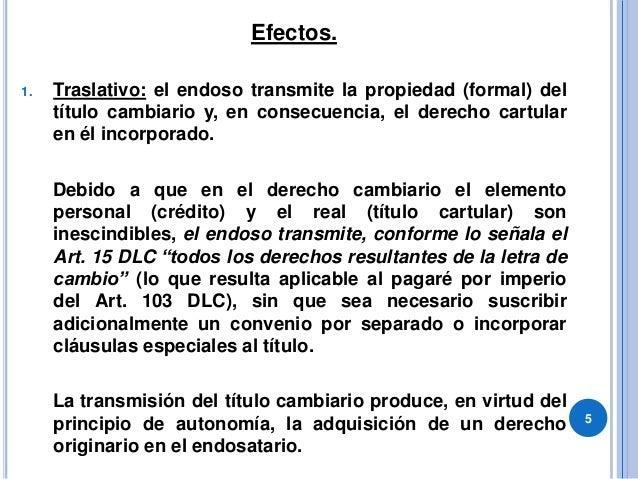 Efectos. 1. Traslativo: el endoso transmite la propiedad (formal) del título cambiario y, en consecuencia, el derecho cart...
