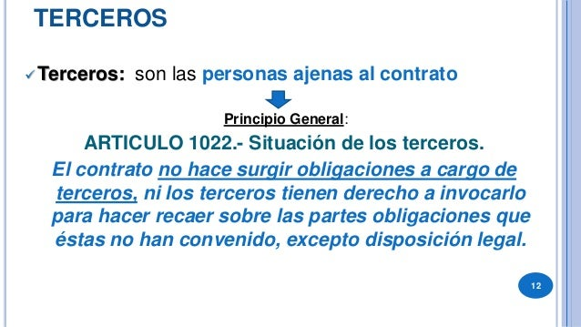 """DIFERENCIAR:  """"SIMPLES TERCEROS"""": el contrato le es oponible en base a los principios """"alterum non laedere"""" (no causar da..."""