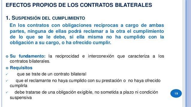 SUSPENSIÓN DEL CUMPLIMIENTO  ARTICULO 1031.- En los contratos bilaterales, cuando las partes deben cumplir simultáneament...