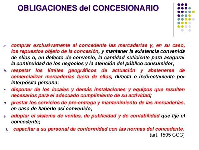 OBLIGACIONES del CONCESIONARIO a. comprar exclusivamente al concedente las mercaderías y, en su caso, los repuestos objeto...