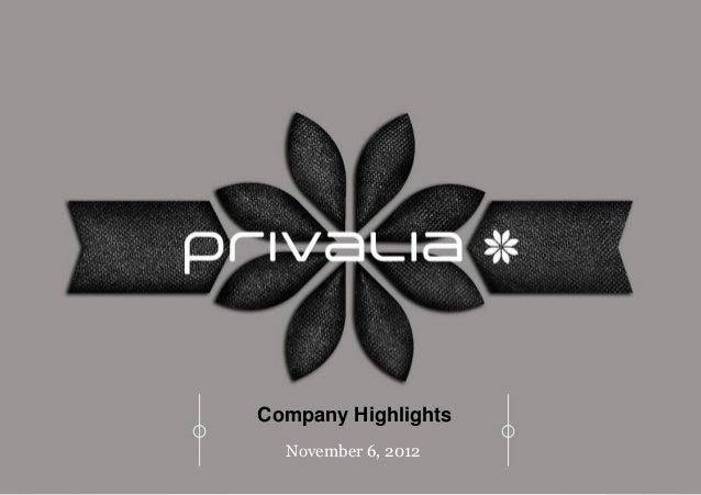 Company Highlights  November 6, 2012