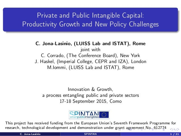Private and Public Intangible Capital: Productivity Growth and New Policy Challenges C. Jona-Lasinio, (LUISS Lab and ISTAT...