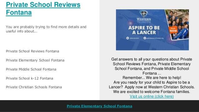 Private Christian School Reviews Fontana