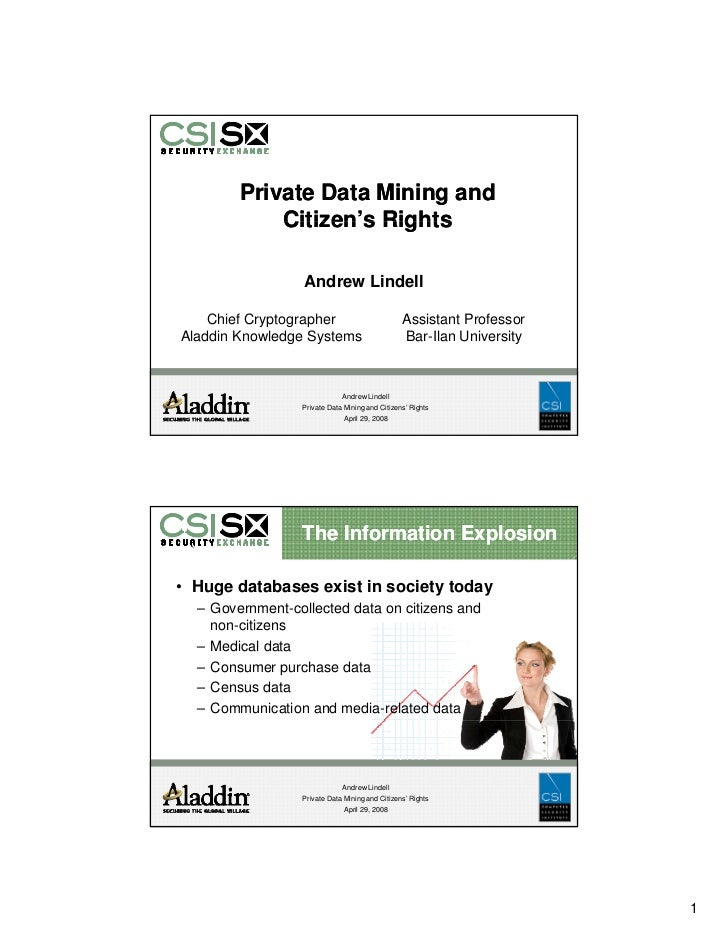 Private Data Mining and             Citizen's Rights             Citizen s                    Andrew Lindell      Chief Cr...