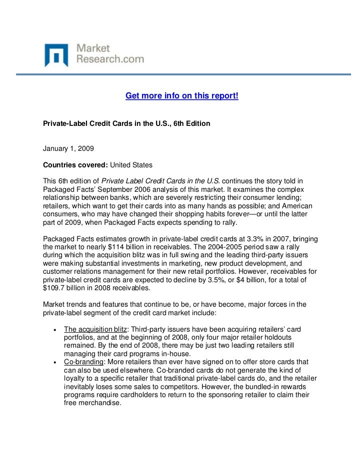 Get more info on this report!Private-Label Credit Cards in the U.S., 6th EditionJanuary 1, ...