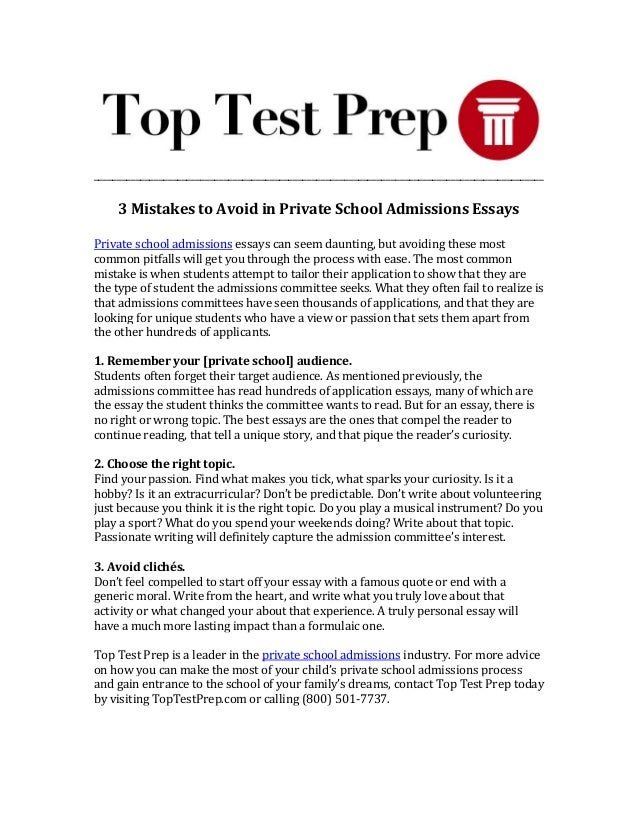 Private high school admission essay examples