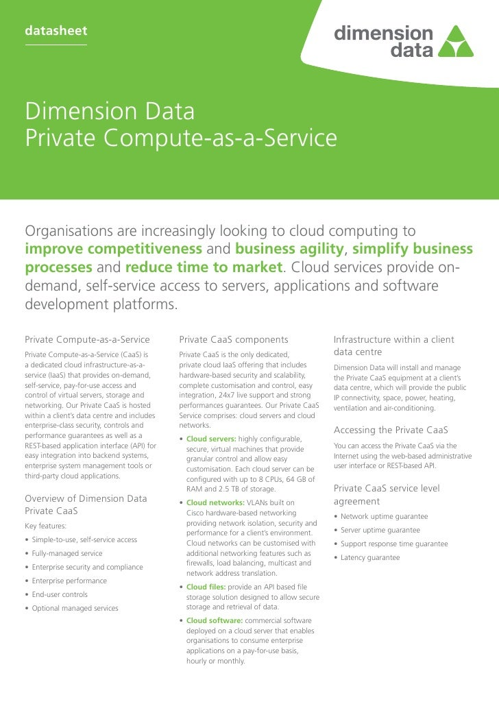 datasheetDimension DataPrivate Compute-as-a-ServiceOrganisations are increasingly looking to cloud computing toimprove com...
