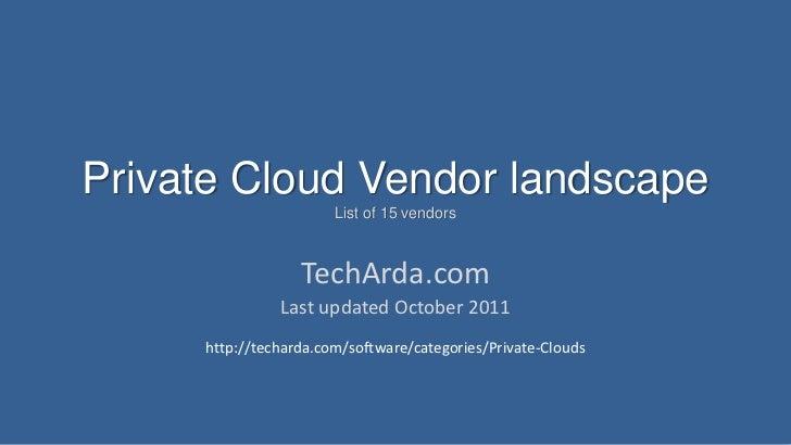 Private Cloud Vendor landscape                       List of 15 vendors                  TechArda.com               Last u...