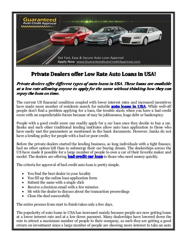 Private Dealers Offer Low Rate Auto Loans In Usa