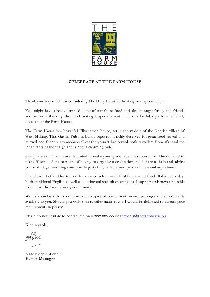 CELEBRATE AT THE FARM HOUSE    Thank you very much for considering The Farm House for hosting your special event.  You mig...