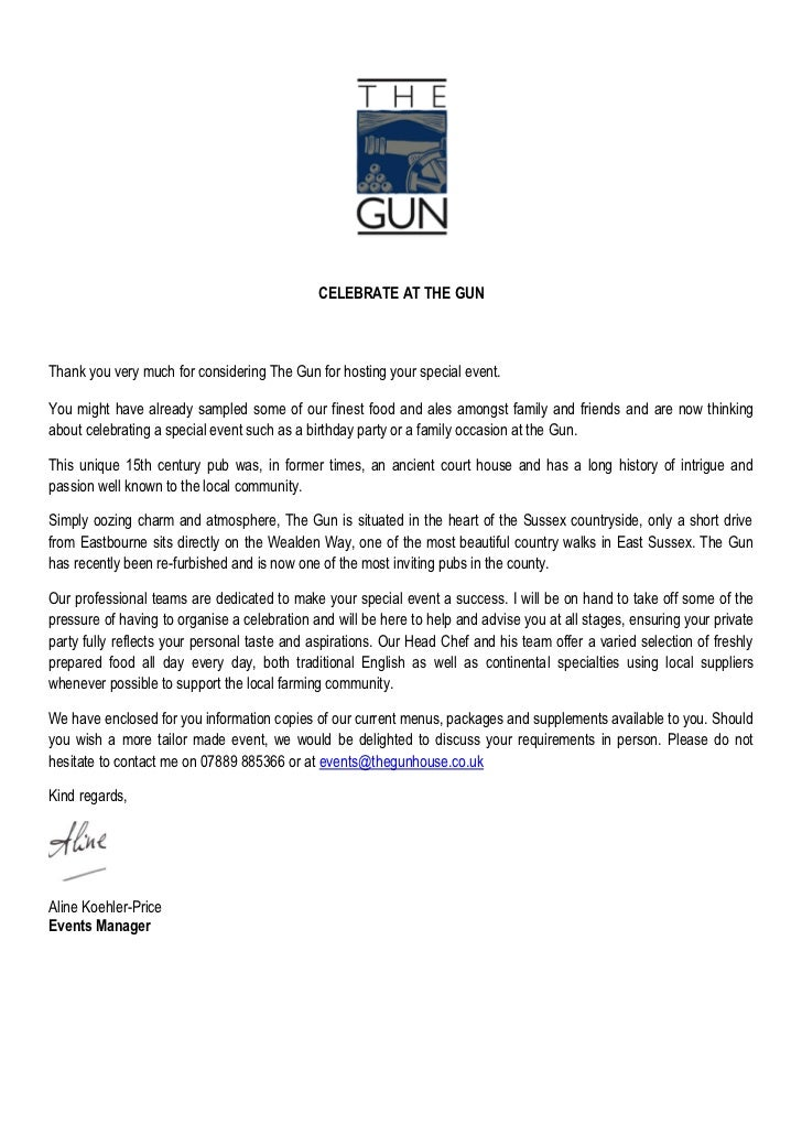 CELEBRATE AT THE GUNThank you very much for considering The Gun for hosting your special event.You might have already samp...