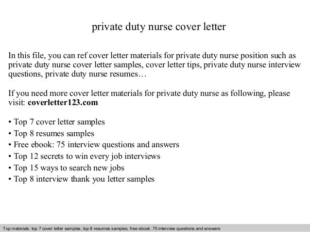 Private duty nurse cover letter