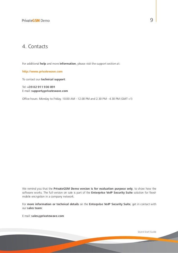 PrivateGSM Demo                                                                                       94. ContactsFor addi...