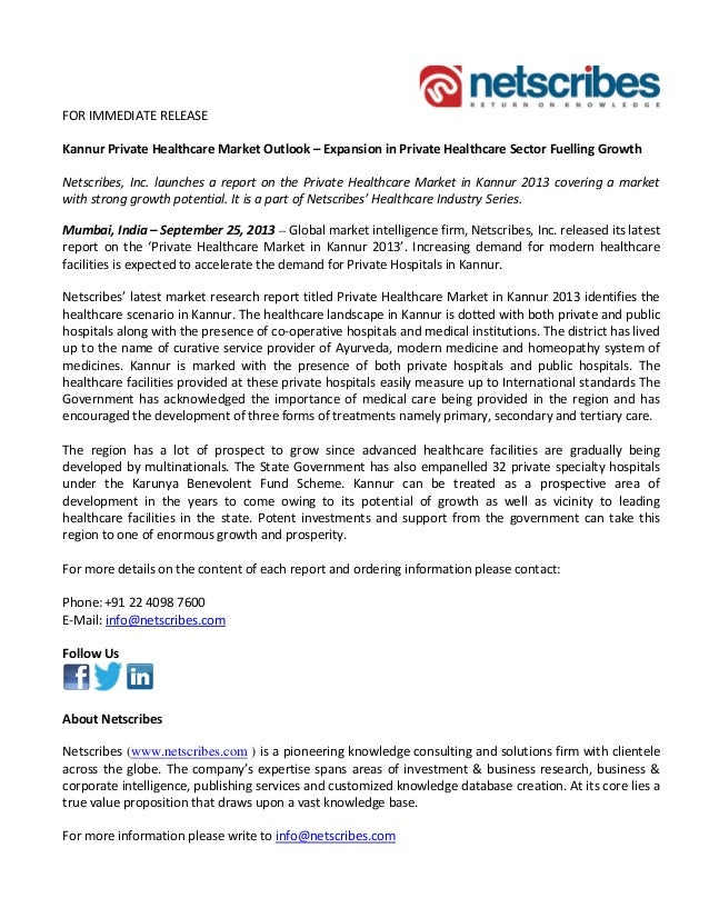 FOR IMMEDIATE RELEASE Kannur Private Healthcare Market Outlook – Expansion in Private Healthcare Sector Fuelling Growth Ne...