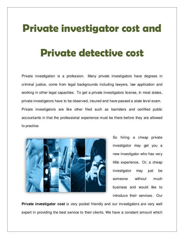 Private investigator cost and private detective cost