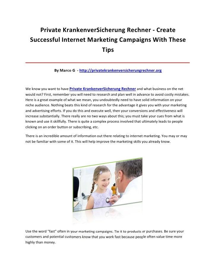 Private KrankenverSicherung Rechner - Create  Successful Internet Marketing Campaigns With These                          ...