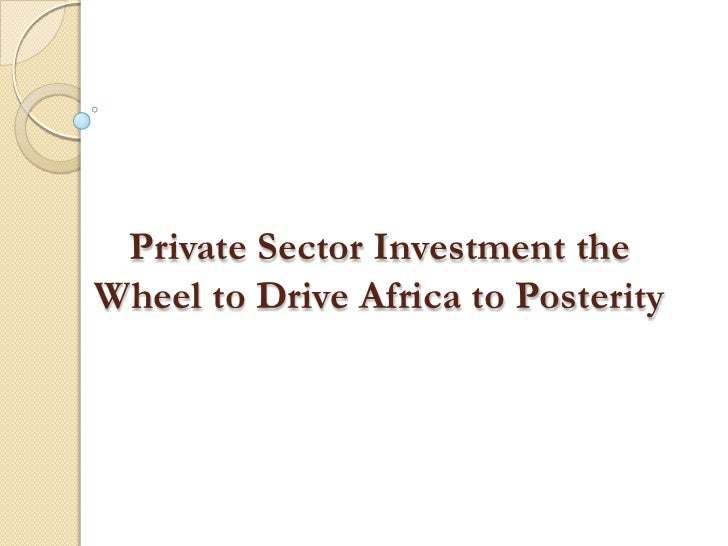 Private Sector Investment theWheel to Drive Africa to Posterity