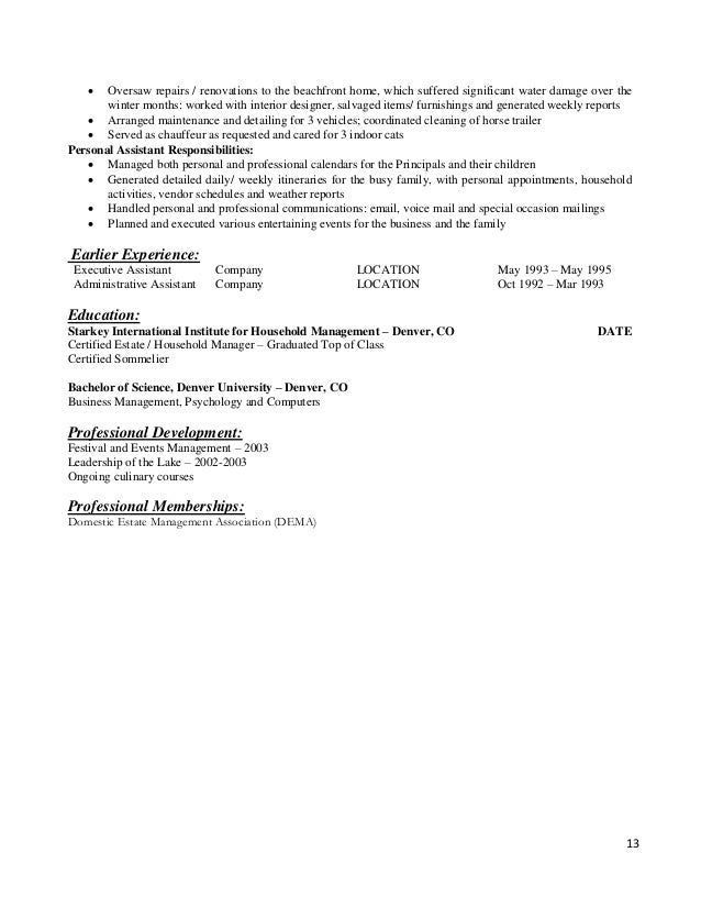 Resume Templates For The Modern Household Manager