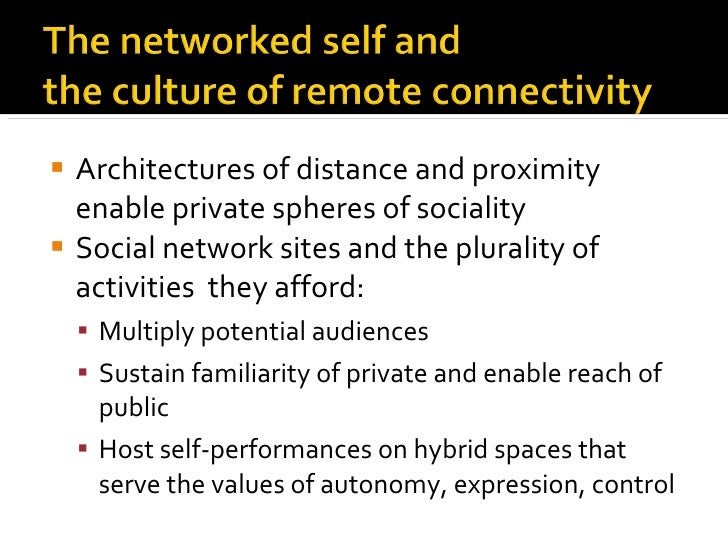 <ul><li>Architectures of distance and proximity enable private spheres of sociality </li></ul><ul><li>Social network sites...