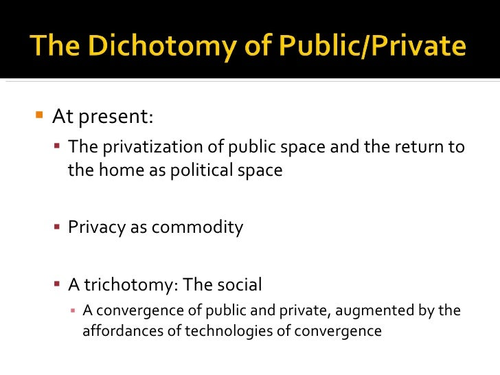<ul><li>At present: </li></ul><ul><ul><li>The privatization of public space and the return to the home as political space ...