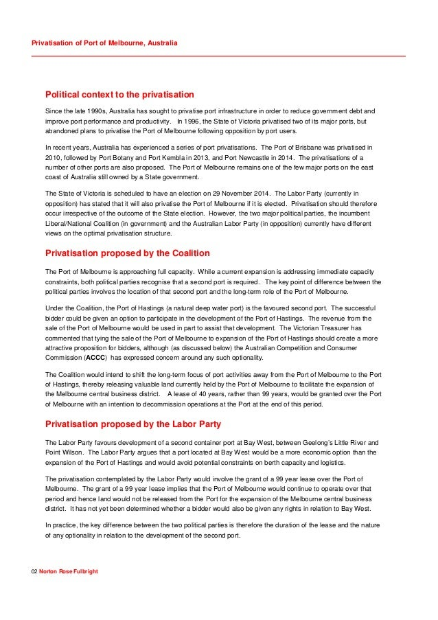 Privatisation of Port of Melbourne, Australia