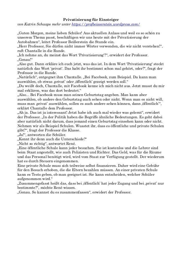 """Privatisierung für Einsteiger von Katrin Schaaps mehr unter https://profbeisserstein.wordpress.com/ """"Guten Morgen, meine l..."""