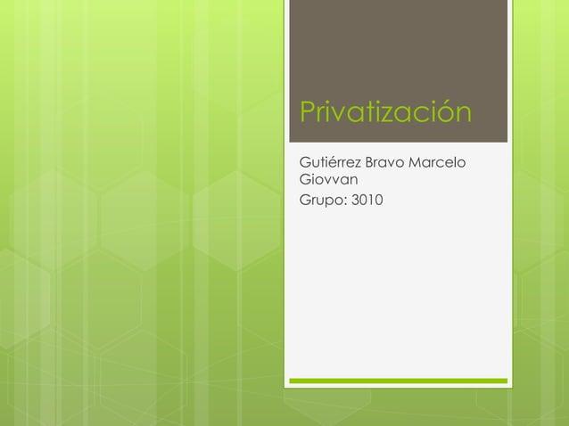 Privatización  Gutiérrez Bravo Marcelo  Giovvan  Grupo: 3010