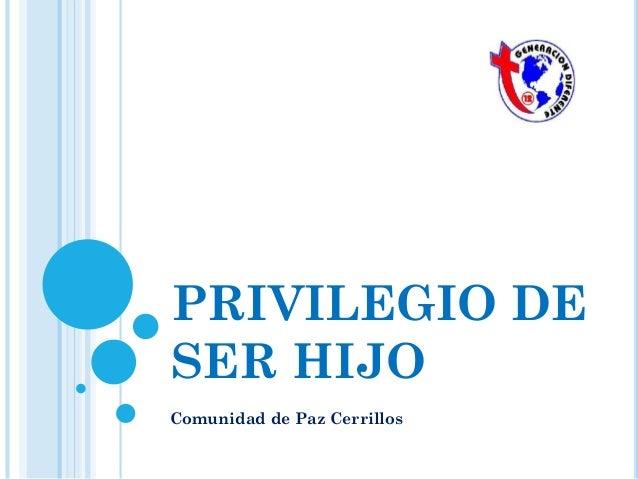 PRIVILEGIO DE SER HIJO Comunidad de Paz Cerrillos