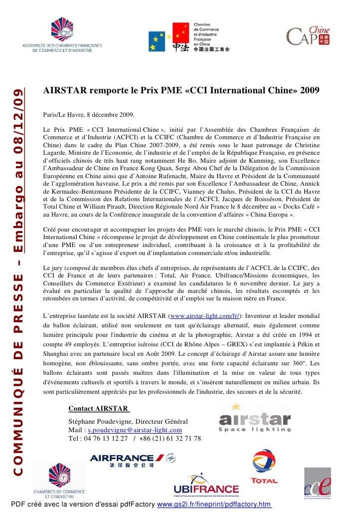 AIRSTAR remporte le Prix PME «CCI International Chine» 2009 COMMUNIQUÉ DE PRESSE – Embargo au 08/12/09                    ...