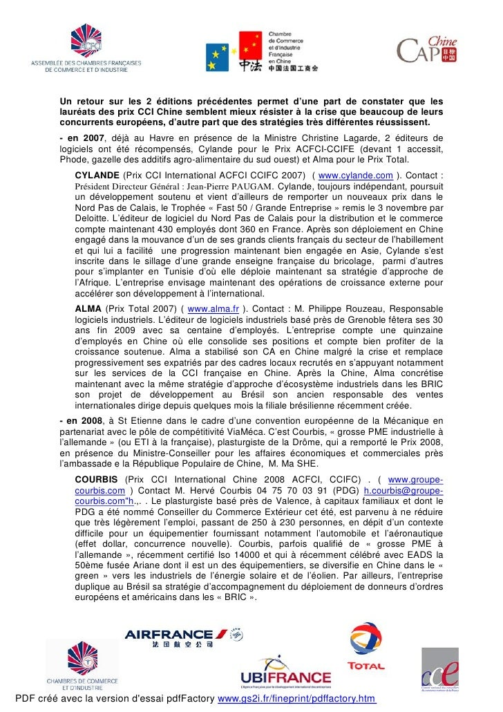 Prix cci international chine 2009 cp acfci 07 12 rev rf 3 for Chambre de commerce france chine