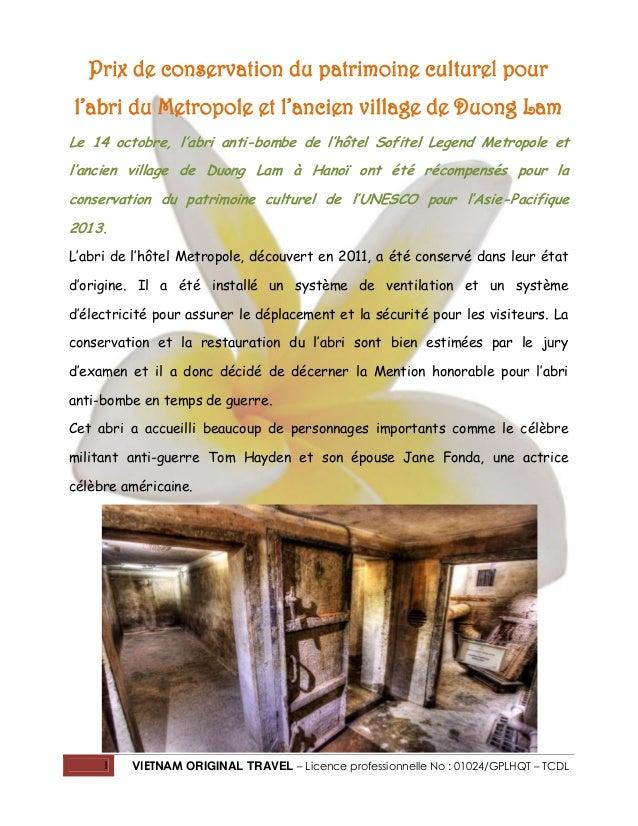 Prix de conservation du patrimoine culturel pour l'abri du Metropole et l'ancien village de Duong Lam Le 14 octobre, l'abr...