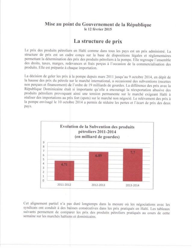 Prix des produits pétroliers: mise au point du Gouvernement de la République