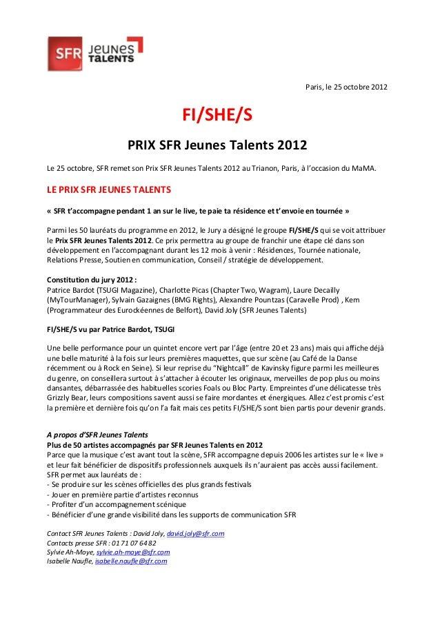 Paris, le 25 octobre 2012                                             FI/SHE/S                          PRIX SFR Jeunes Ta...