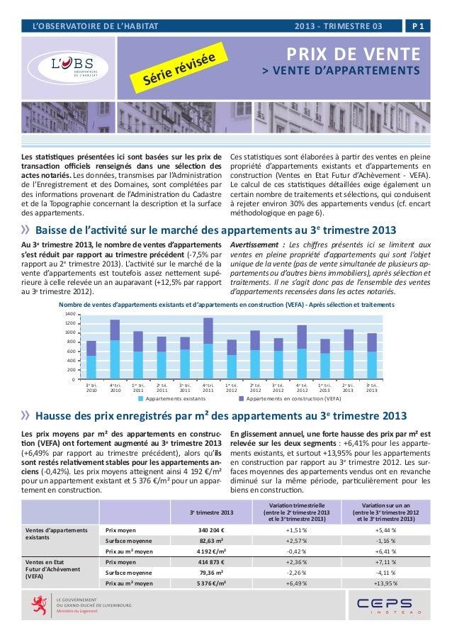 L'OBSERVATOIRE DE L'HABITAT  2013 - TRIMESTRE 03  P1  PRIX DE VENTE  ée évis rie r  > VENTE D'APPARTEMENTS  Sé  Les statis...
